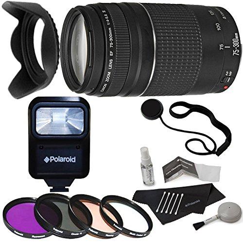 Canon EF 75-300mm f/4-5.6 III Telephoto Zoom Lens for Canon SLR Cameras + Polaroid Studio Series Pro Slave Flash + Polaroid Optics 58mm 4 Piece Filter Set + Deluxe Polaroid Accessory Kit
