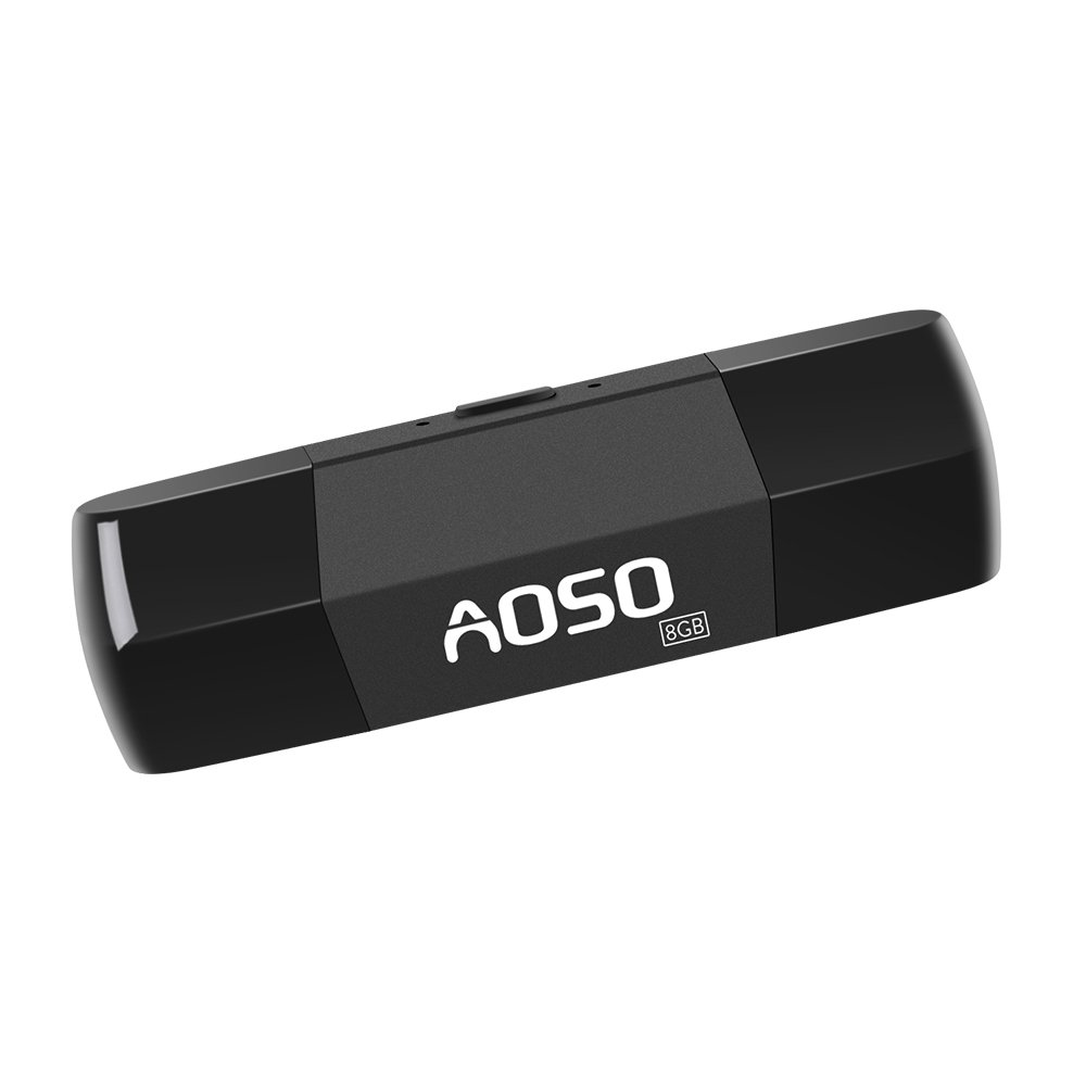 USB Voice Recorder - 8GB U Disk & Audio Recorder, USB & Micro Port for PC/Laptop/Android Smart Phone, Voice Activated Audio Recorder, 12 Hrs Long Recording for Class, Meeting, Lectures by AOSO