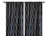 Pair of rod curtains 50'' wide panels charcoal grey ivory robert allen diamond geometrical window treatment nursery cotton drapes 84 96 108