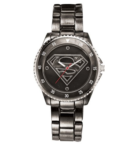 Superman Watch (Gun Metal Stainless Steel SUP8005) - Superman Stainless Steel Bracelet
