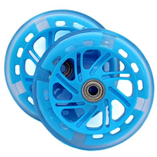 AOWISH 120mm Light Up Scooter Wheels Pair 120 mm LED Flashing PU Replacement Wheels with Bearings ABEC-7 for Kids Toddler Micro Mini Deluxe Kick Scooters (Clear Wheel Blue Hub)