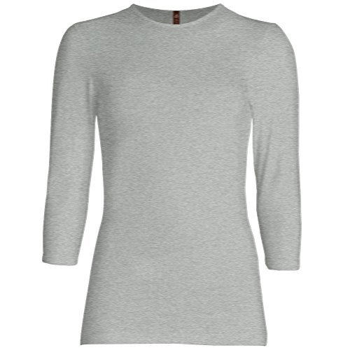 (Esteez Womens 3/4 Sleeve Shirt SNUG FIT EX801941 Grey Mix XX-Large)