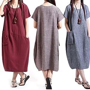 HeBei Sexy Cotton Linen Short Sleeve Dress Women Casual Loose Calf-Length Sundress M91 Red M