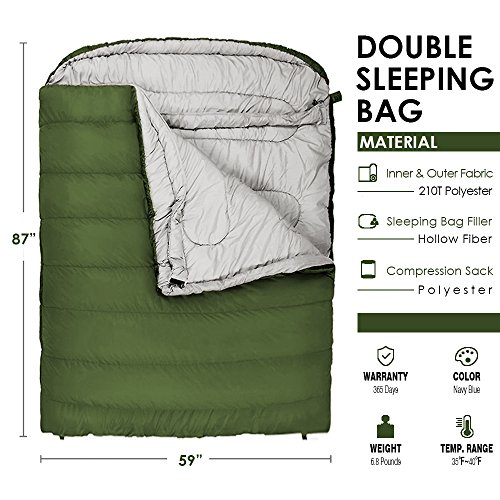 Winner Camping Sleeping Bag with Compression Sack,Mummy Hood with Zipper It s Portable and Lightweight for 3-4 Season Camping, Hiking, Traveling, Backpacking and Outdoor Activities