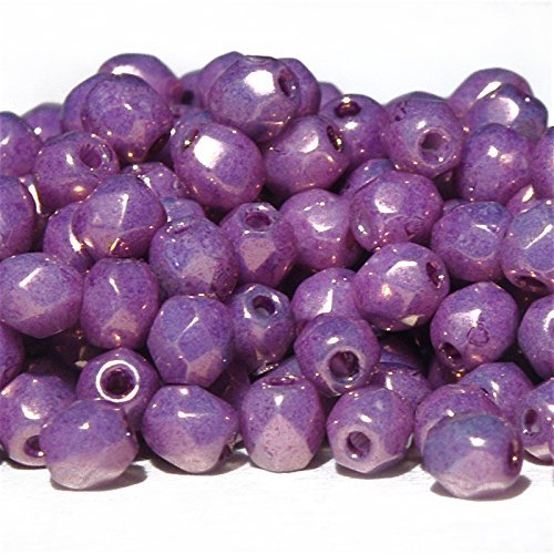Fire polished faceted round 3 mm Czech Glass Beads 60 pcs, Golden Purple