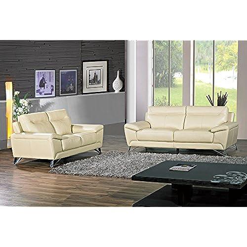 Charmant Cortesi Home Phoenix Genuine Leather Sofa U0026 Loveseat Set, Cream