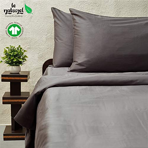 Le Naturel 300 Thread Count 100% GOTS Certified Organic Cotton Duvet Cover Full and Queen Size (Dark Gray) Bedding Super Soft Sateen Weave,3 Way Protection, Premium Collection