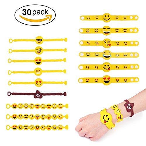 YueChen 30Pcs Emoji Rubber Bracelet en Silicone , Emoji Bracelet Caoutchouc Enfants Adultes fêtes de fête Sac de fête Remplissage Enfants Anniversaire Cadeau Partie Fourniture Petits Jouets