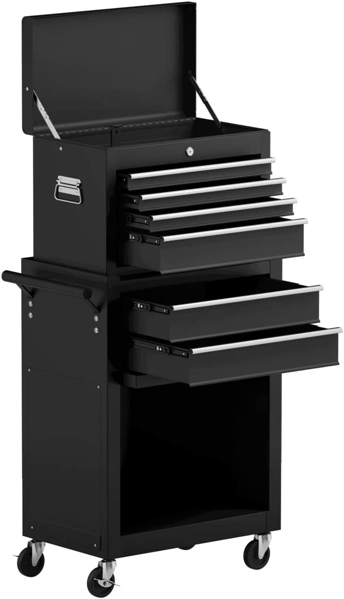Goplus 6-Drawer Rolling Tool Chest Removable Tool Storage Cabinet with Sliding Drawers, Keyed Locking System Toolbox Organizer Black