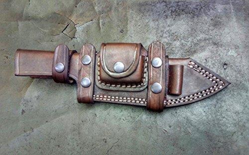 Ottoza Custom Handmade Dark Brown KNIFE SHEATH/HORIZONTAL SCOUT TRACKER - BUSHCRAFT - SKINNER Cow/Buffalo Leather No:1 ()