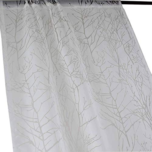 Anady Top Tree White Sheer Curtains Voile 2 Panel White Sheer Drapes for Bedroom Divider Sheer Curtains Rod Pocket 84 inch Length