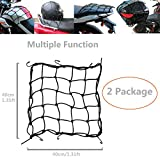 2 Package 15 x15(40x40cm) Dogxiong Motorcycle Cargo Net for Motorcycle Elasticated Bungee Cord Cargo Net Luggage Mesh Bungee Net Storage Tie Down Adjustable with 6 Hook