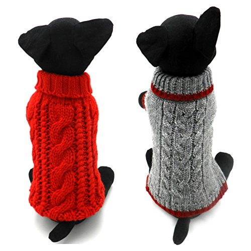 Pack of 2 Turtleneck Classic Cable Knit Dog Cat Pet Sweater Apparel Classic Red and Grey (XL) ()