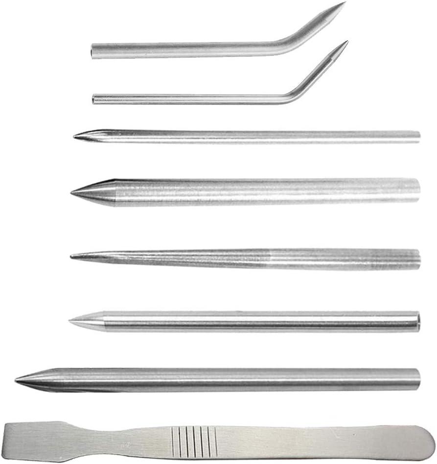 Juego de costura Paracord de 8 piezas,7 agujas de cordón Paracord FID de acero inoxidable Paracord de diferentes tamaños + 1 herramienta de suavizado de piezas para cuerdas, brazalete, tejido de cuero