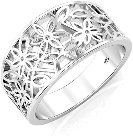 Metal Factory 925 Sterling Silver Victorian Leaf Filigree Ring
