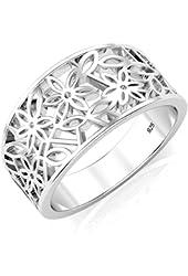 925 Sterling Silver Victorian leaf Filigree Ring