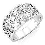 Metal Factory 925 Sterling Silver Victorian Leaf Filigree Ring