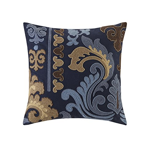 blue page Navy Embroidered Decorative Throw Pillows Covers Modern Euro Decor Pillow Cases for Couch Sofa Bed Living Room Comfortable Couch Cushion Cover, 18x18 Inches (Print Couch Floral)