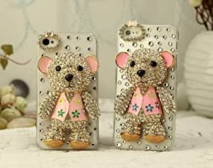 Melody Home Life Museum 3D Handmade Crystal Rhinestone Cute Bear Hard Case Cover For iPhone 4 / 4S / 5 / 5S (iPhone 4/4S, Pink-02)