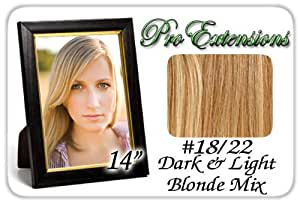 """Pro Extensions 14"""" X 39"""" #18/22 Dark Blonde with Light Blonde Highlights 100% Clip on in Human Hair Extensions"""