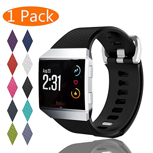 Fitbit Ionic Bands, KingAcc Soft Accessory Replacement Band for Fitbit Ionic, With Metal Buckle Fitness Wristband Strap Women Men (1-Pack, Black, Small)