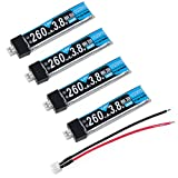 Crazepony 4pcs 260mAh HV LiPo Battery 30C 3.8V for Tiny Whoop Blade Inductrix JST-PH 2.0 Powerwhoop Connector