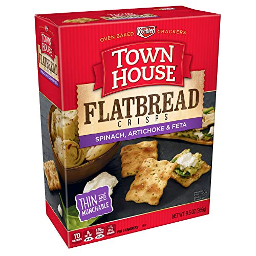 Keebler, Town House Flatbread Crisps, Crackers, Spinach, Artichoke and Feta Cheese, 9.5 oz(Pack of 12) ()