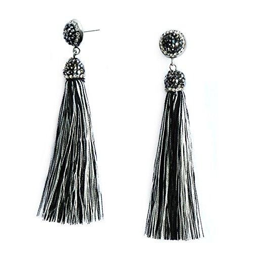 Black Earring Handmade (Black White Womens Tassel Earrings Multicolor Dangle Long Fringe Earring Girls Handmade Jewelry)