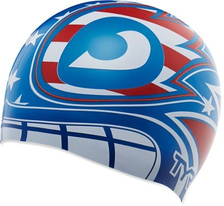 Tyr Masked Liberator Swim Cap, One Size (Red/White/Blue)