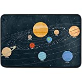 Solar System Doormat Indoor/Outdoor Washable Garden Office Door Mat,Kitchen Dining Living Hallway Bathroom Pet Entry Rugs with Non Slip Backing