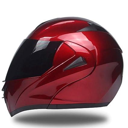 LWA Casco Moto Modular Integral, Doble Visera, Color Mate Azul y Rojo Casco Motocicleta Scooter Adulto Mujer y Hombre de Fibra de Vidrio Torque Cascos ...