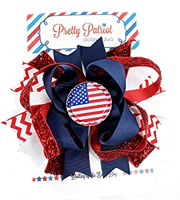 Pretty Patriots- 4th of July Boutique Girls Hair Bow by Dolling Diva