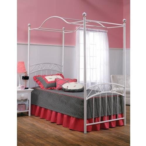 Hillsdale Furniture 11180BTWP Emily Bed Set with Canopy, Twin, White