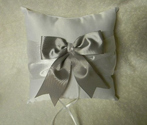 Wedding Party Ceremony Big Silver Bow Ring Bearer Pillow ON Sale Save $$ by Designed by Regina