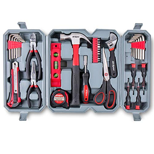 (Hi-Spec 50 Piece Home Tool Set of Hand Tools - Claw Hammer, Adjustable Wrench, Precision Screwdrivers, Screw Bits, Long Nose Pliers, Side Cutters, Torpedo Level, Bit Driver & Tool Box Kit)