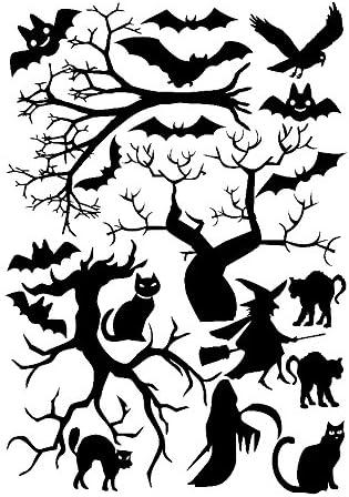 Bats Trees 8x11.5 Sheet Black JnM Vinyl Studio Halloween Window Cling set Cats