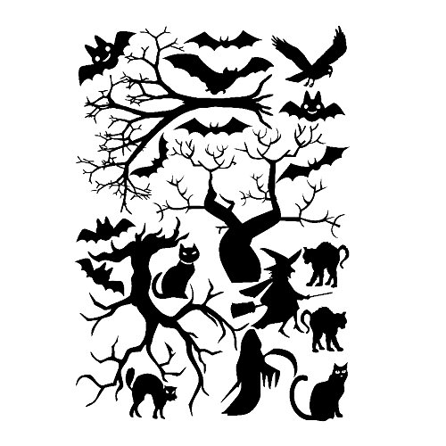 JnM Vinyl Studio Halloween Window Cling set Cats, Bats Trees 8x11.5 Sheet Black]()