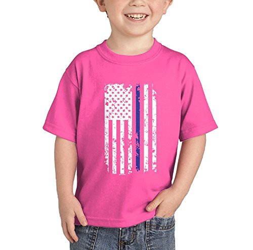 (HAASE UNLIMITED Thin Blue Line American Flag T-Shirt (Pink,)