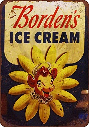 qidushop Borden's Ice Cream - Letrero de Metal para decoración del hogar, 30 x 45 cm