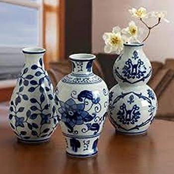 the bombay company set of 3 floral ceramic blue u0026 white vases