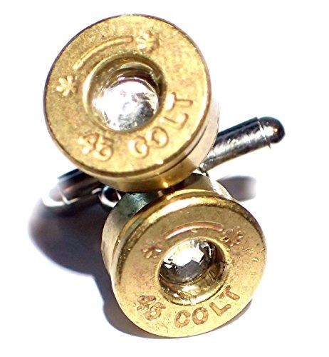 Bullet Shell Cufflinks Colt 45 w Clear Diamond Crystal 45 Caliber (Bullet Shell Cufflinks)
