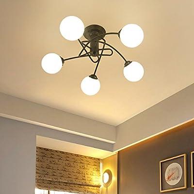 KunMai Modern Simplistic White Globe Glass Shade Five Light Dual-Purpose Pendant Light/Semi Flush Mount Ceiling Light