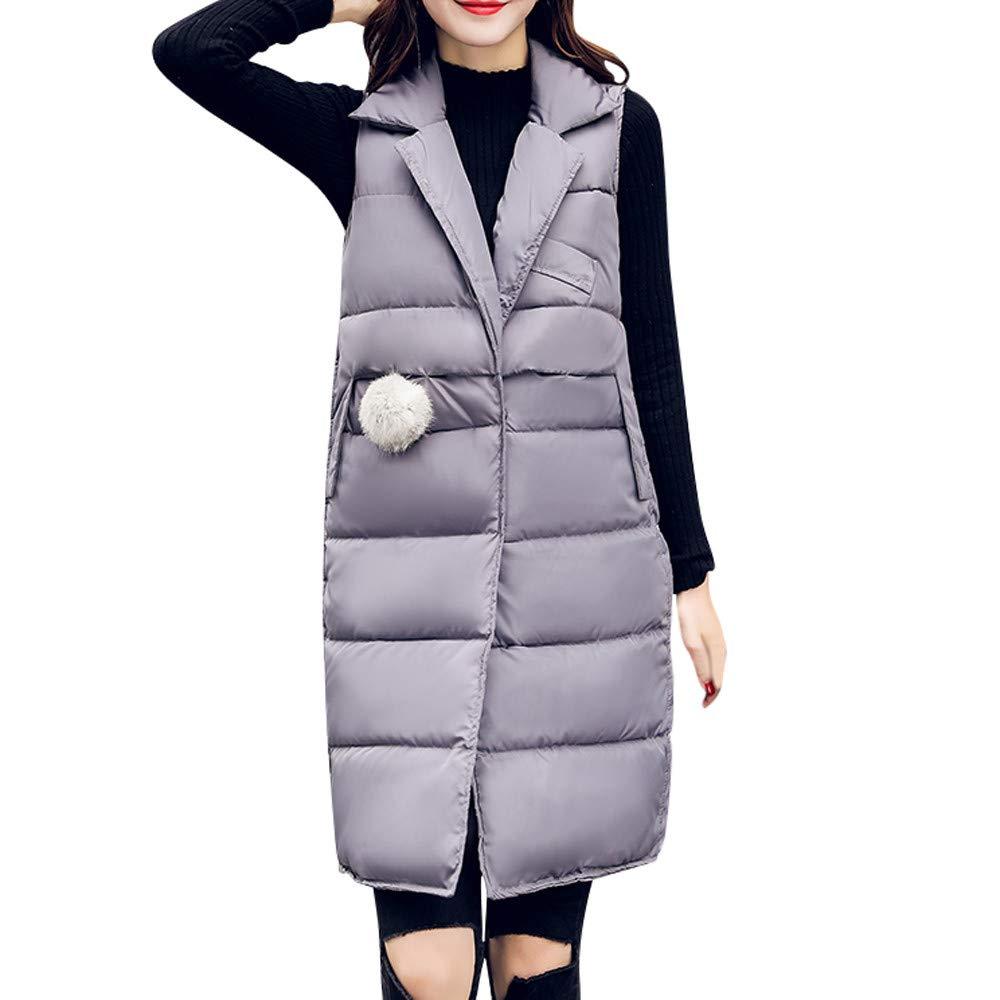 PENATE Women's Down Vest Girls Long Slim Winter Warm Jacket Cotton Padded Coat