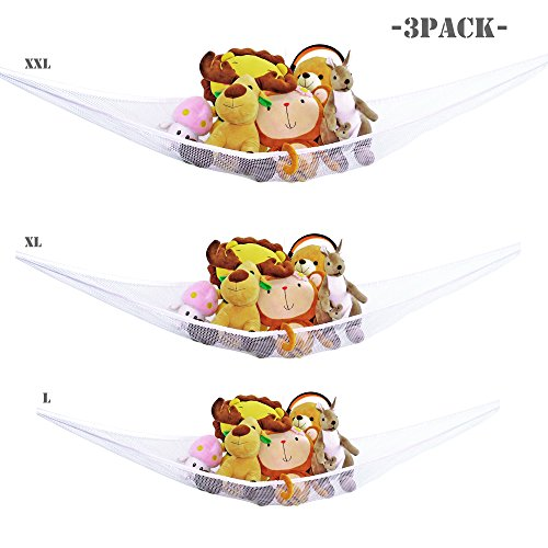 Toy Hammock -3PACK- Heavy Duty Nylon Netting With Elasticized Border, 6ft 5ft 4.3ft Neatly Organizing Kids Toys And Stuffed Animals, Room Courtyard Bathtub Toy