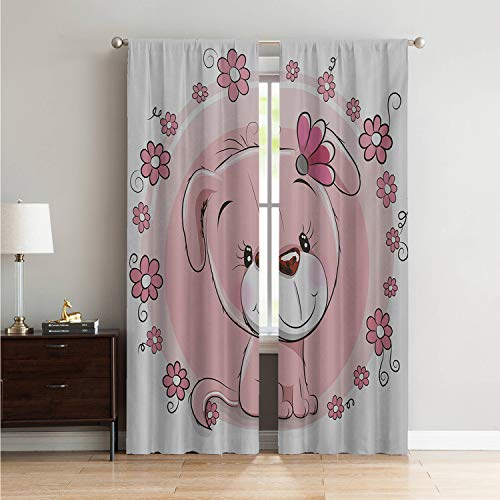 Mozenou Room Darkening Blackout Blackout Curtains for Bedroom Dog,Cute Little Puppy with Daisy Flowers Cheerful Adorable Domestic Pet Girls,Pale Pink Coral White W96 x L84 Inch