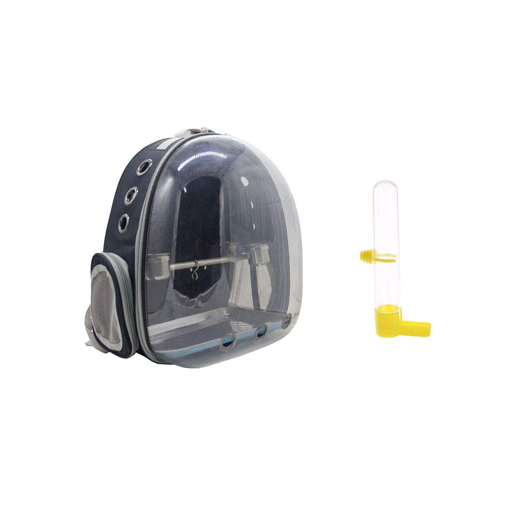 B Blesiya Travel Pet Bird Parred Cage Carrier Black With 1 Set Perch Cup & Bird Cage Water Drinker Clip