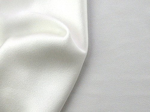 (Satin Backed Crepe Polyester Dress Fabric Ivory - per metre)