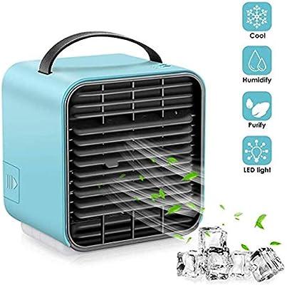 Huahau Refrigerador de Aire Mini Aire Acondicionado USB Ventilador pequeño Carga de Almacenamiento de Larga duración Almacenamiento portátil Agua más Hielo Puede Transportar con el rociador: Amazon.es: Hogar