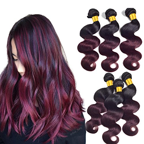 Two Tone Ombre Hair Extensions Weaves Bundles 8a Brazilian Peruvian Virgin Hair Bundles Body Wave Sew In Human Hair 3 Bundles Wet And Wavy Double Weft 1b/99j 1b To Burgundy 100g/Pcs(10 12 14inch)