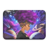 1 Piece Smart Dry Memory Foam Bath Kitchen Mat For Bathroom - Galaxy African American Black Women With Purple Hair Shower Spa Rug 18x30 Door Mats Home Decor With Non Slip Backing - 3 Sizes